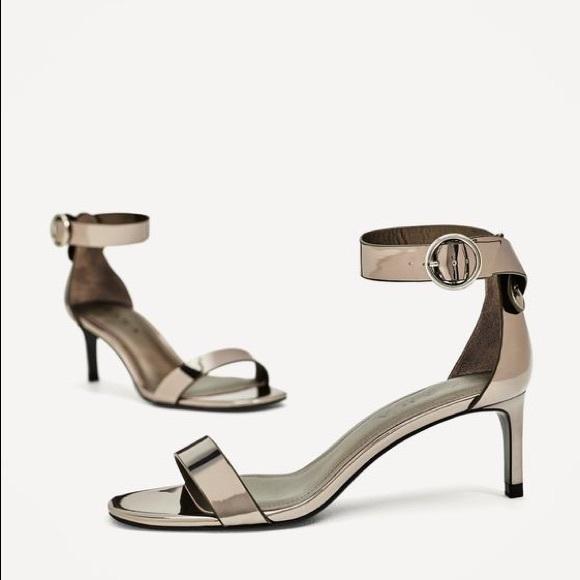 ed66359ed47 NWT Zara Metallic Pewter High Heel Sandal